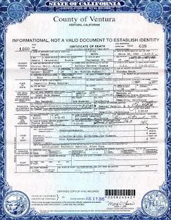 Tamara Matul death certificate