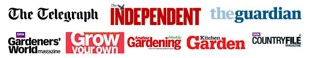 Press title logos which have featured Veg Plotting include The Telegraph, The Independent, The Guardian, Gardener's World, Grow Your Own, Kitchen Garden, Amateur Gardening and Countryfile