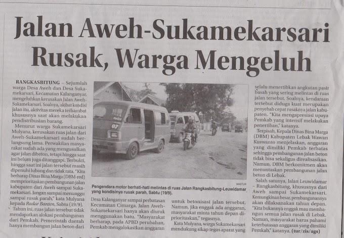 Jalan Aweh-Sukamekarsari Rusak, Warga Mengeluh (Repost @RadarBanten)