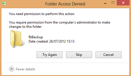 Rtbackup Access Denied