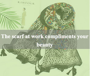the scarf at work compliments your beauty