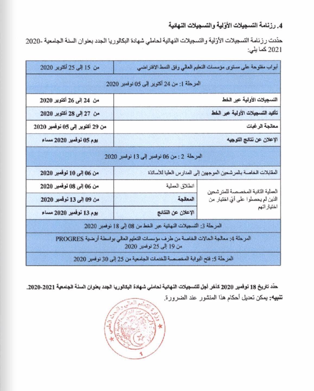 رزنامة التسجيلات الأولية والنهائية لحاملي شهادة البكالوريا الجدد بعنوان السنة الجامعية 2020-2021
