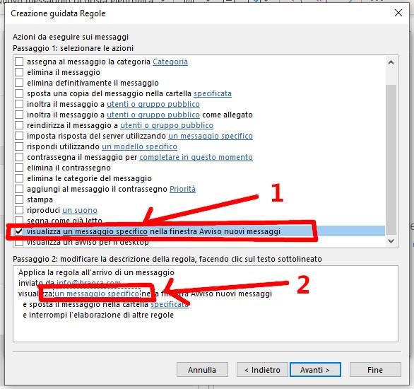 Selezione messaggio specifico Outlook
