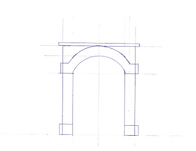 A scale sketch template of a single-wide tunnel portal