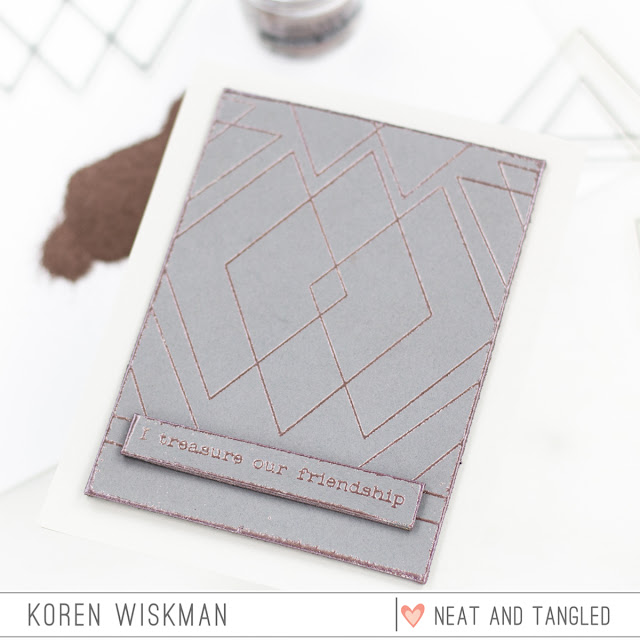 neat and tangled, geometric, stamp set, stamping, triangles, gray, grey, rose gold, embossing powder, heat embossing, Ranger, Simon Says Stamp