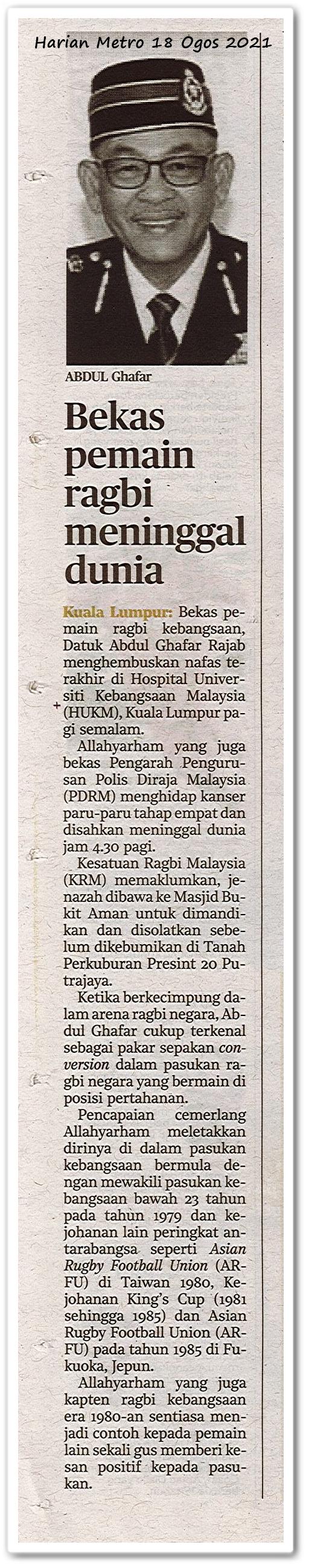 Bekas pemain ragbi meninggal dunia - Keratan akhbar Harian Metro 18 Ogos 2021