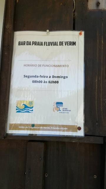 Horário Bar Praia Fluvial de Verim