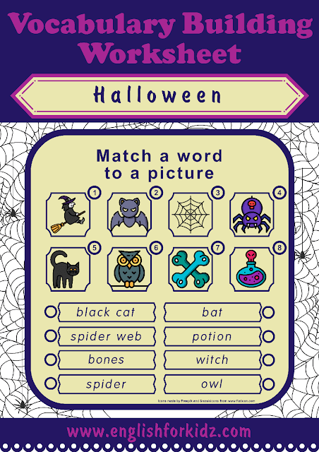 Free Halloween worksheets - printables for ESL and EFL teachers
