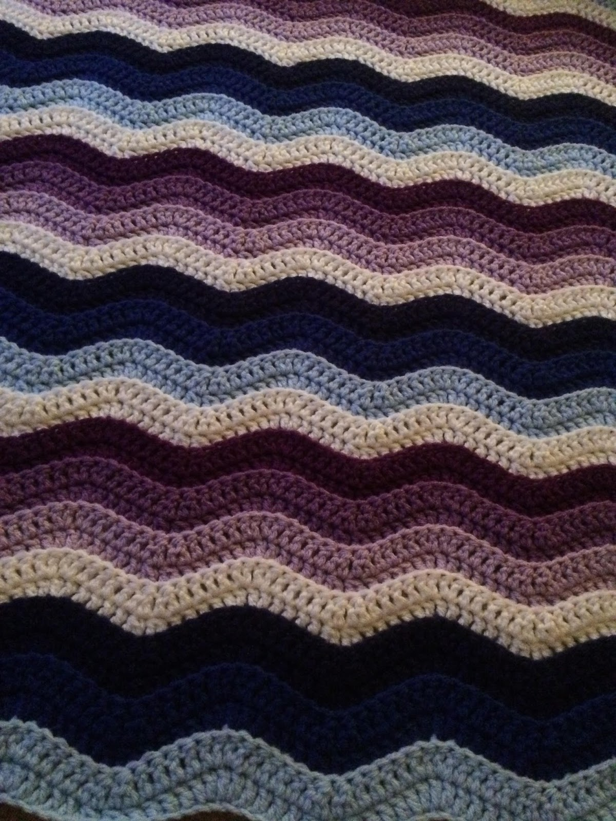 Hooked On Needles Two Crocheted Afghans Wavy Diagonal Stripes