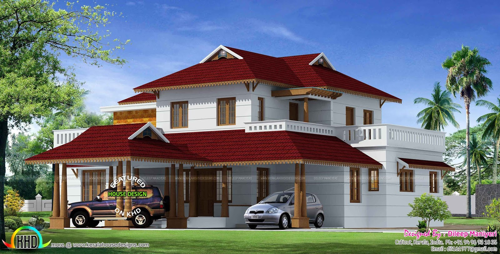Traditional style kerala home 3240 sq ft kerala home for Traditional house plans in kerala