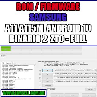 Rom Firmware Samsung Galaxy A11 A115M Android 10 - Binario 2 ZTO - Full Flash Completa sem Operadora