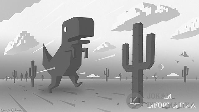 Cara Menembus Kaktus Dan Pteranodon Di Game T-Rex Pada Browser Chrome - JOKAM INFORMATIKA