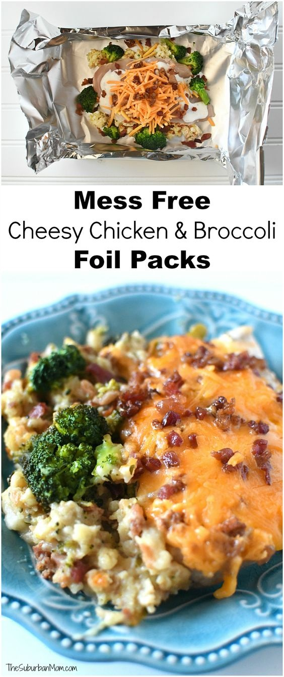 Cheesy Chicken And Broccoli Foil Packs