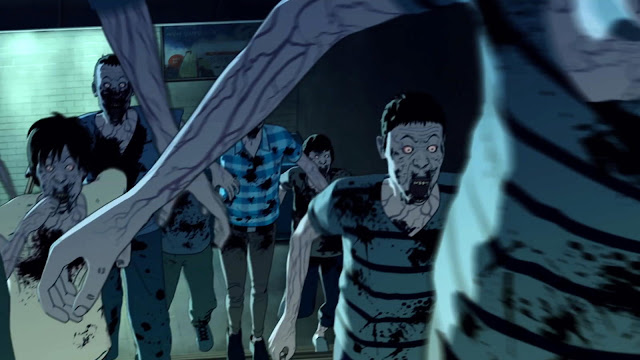 Hordes of anime zombies covered with blood run from different direction