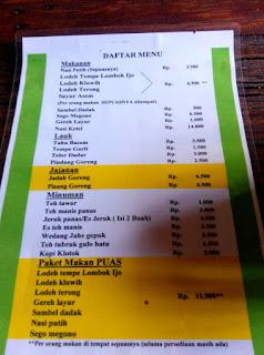 Daftar Menu Makanan Dan Minuman Kopi Klotok Jogja
