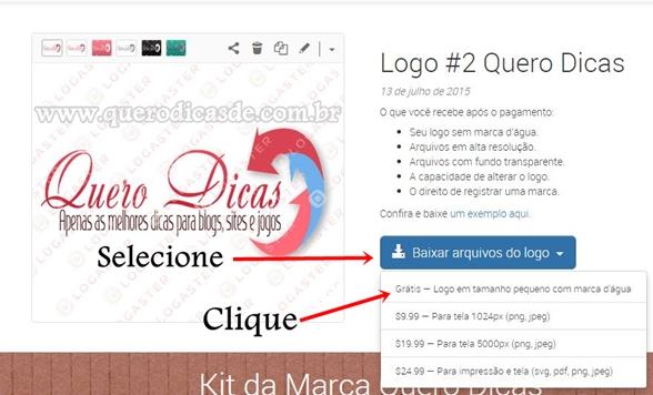 """clique em """"Baixar arquivos do logo"""" e selecione """"Grátis"""""""