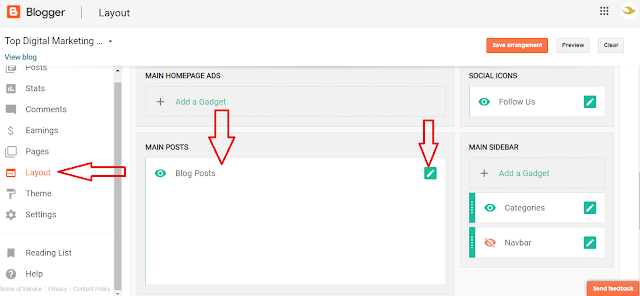layout setting in blogspot