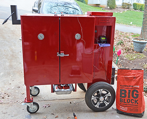 Deep South Smokers GC36 with a Flame Boss 300.  Kamado Joe and pecan wood for fuel.