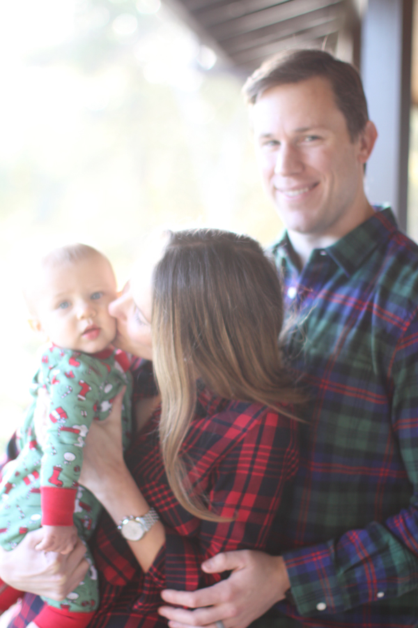 blurry but merry family Christmas photo