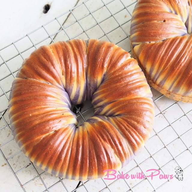Sourdough Butterfly Pea Flower Wool Roll Bread