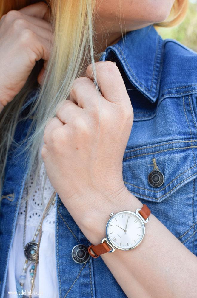 Damen Armbanduhr von Tchibo, braun und silber