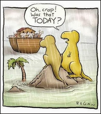 Funny Noah's Ark Cartoon Picture - Crap was that today? Dinosaurs missed ark