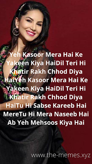 Yeh Kasoor Mera - Lyrics Video Status Download 2020 - Sunny Leone