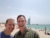 Ann Arbor personal trainer and fitness center founder Mark Thiesmeyer with his husband, Matt Hook, recently in Dubai.