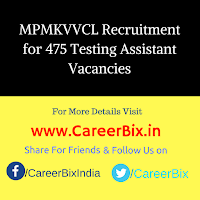 MPMKVVCL Recruitment for 475 Testing Assistant Vacancies