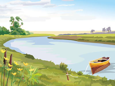 Gambar pemandangan sungai kartun