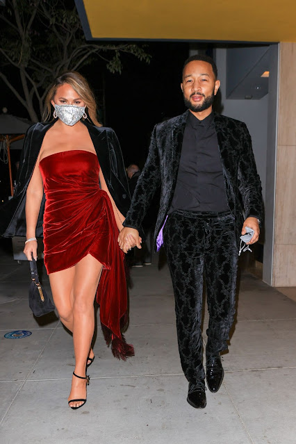 Chrissy Teigen and John Legends at Grammy After party in Los Angeles