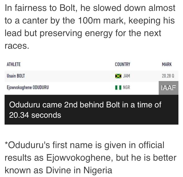 Image result for Nigerian Sprinter Oduduru AND USAIN BOLT RACE