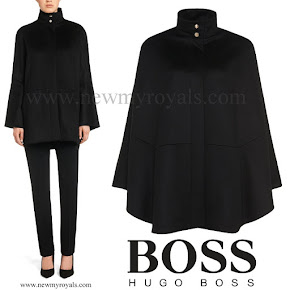 Queen Letizia wore Hugo Boss Capina wool cape