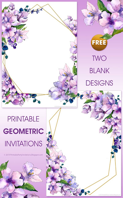 free invitations with purple and gold background