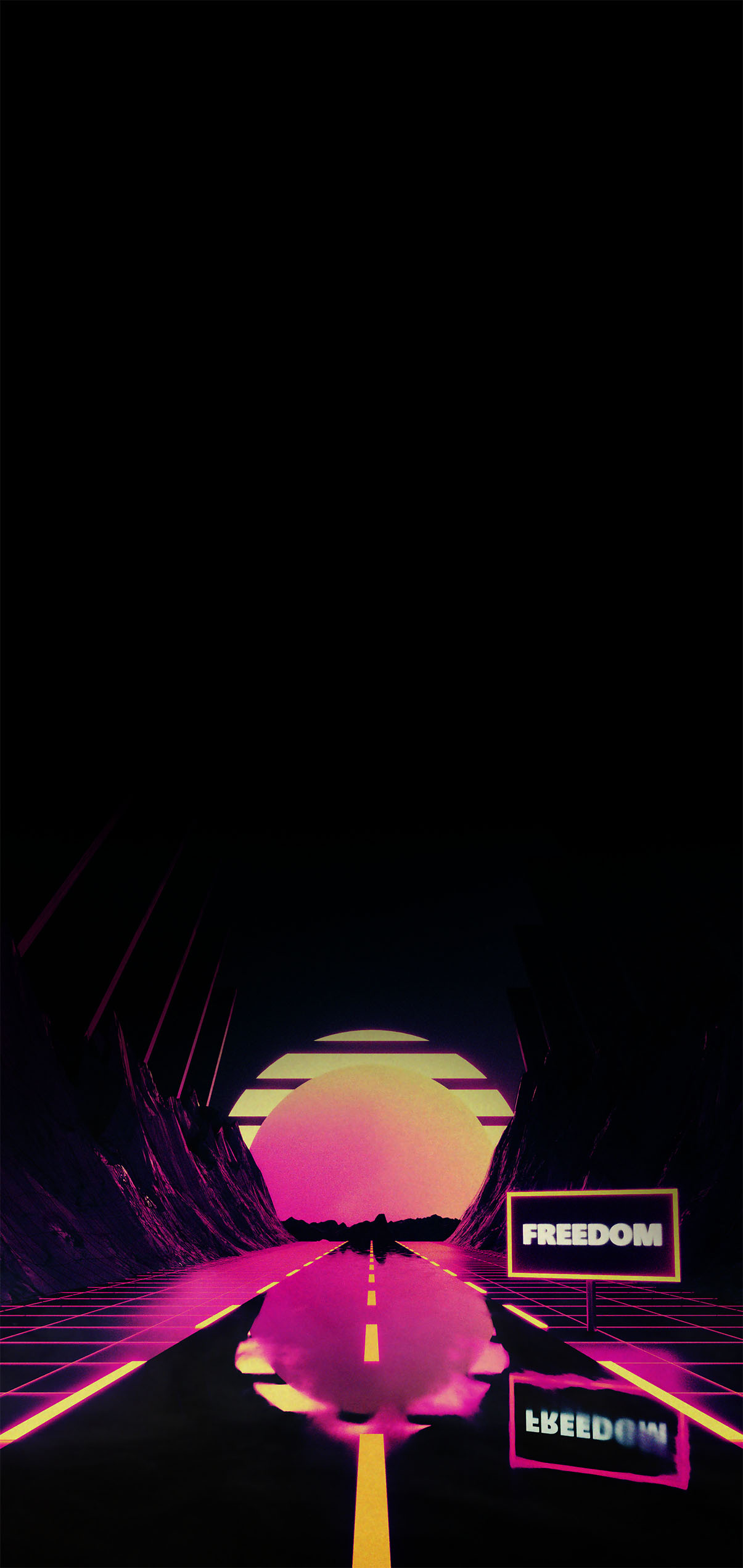 retro road synthwave wallpaper for iphone oled black