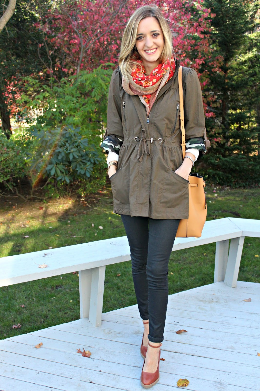 olive anorak and leather pants