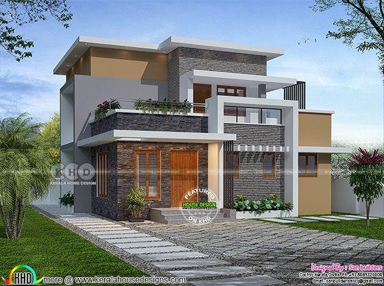 1545 square feet 3 bedroom flat roof box model home