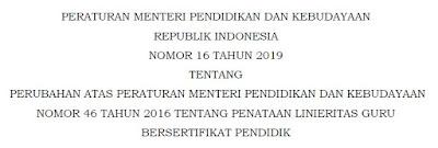 Peraturan Menteri Pendidikan Dan Kebudayaan Republik Indonesia Nomor 16 Tahun 2019 Tentang Penataan Linieritas Guru Bersertifikat Pendidik