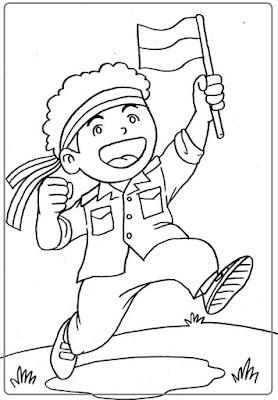 Sketsa Gambar tema Kemerdakaan Untuk TK