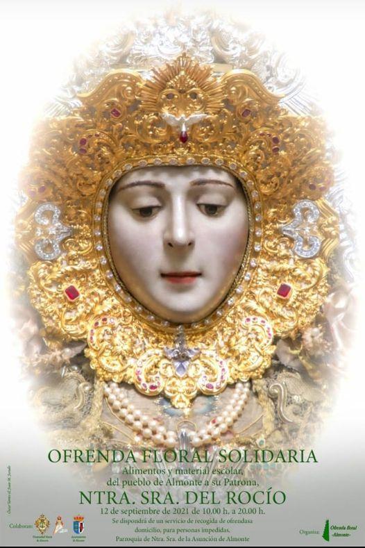 Cartel anunciadora del la Ofrenda Floral 2021 a Nuestra Señora del Rocio en Almonte
