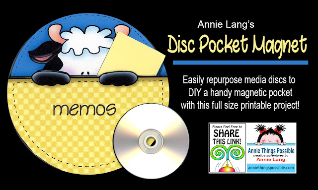 Create this multi-functional pocket designed by Annie Lang for FREE!  This pocket is made with recycled repurposed cd  media discs and printable art because Annie Things Possible.