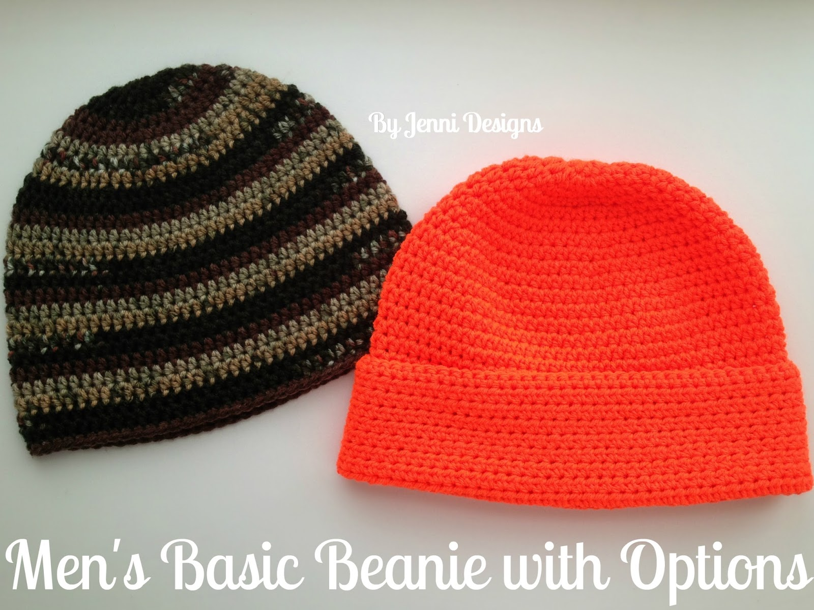 By Jenni Designs: Free Crochet Pattern: Men\'s Basic Beanie with Options