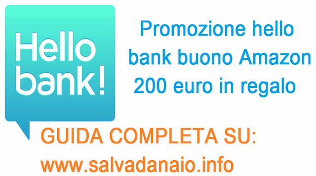 Promozione hello bank buono amazon 200 euro in regalo