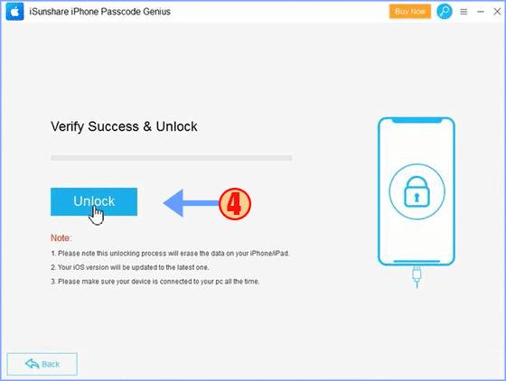 click Unlock to remove forgotten passcode