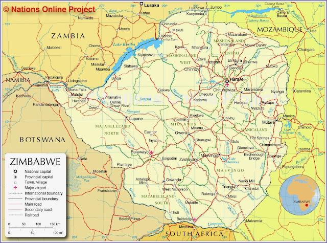 Mapa de Zimbábuwe