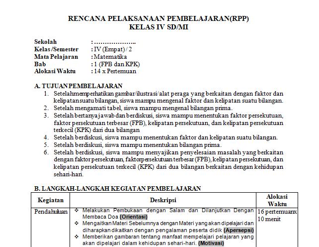 Rpp 1 Lembar Mtk Kelas 4 Sd Mi Antapedia Com