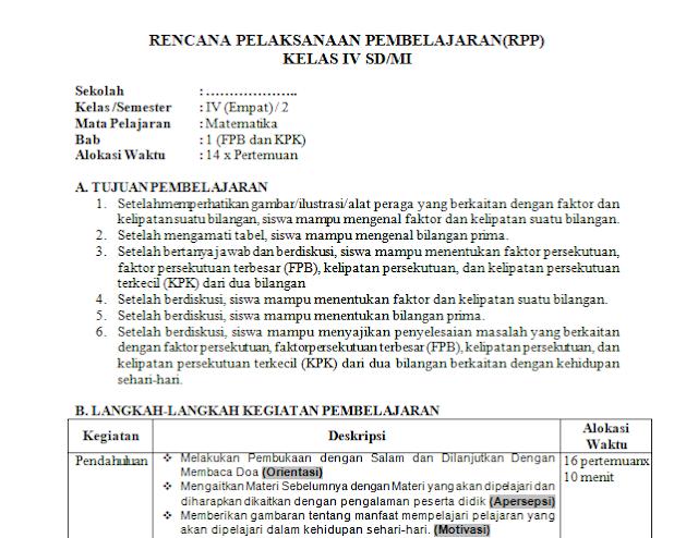 RPP 1 Lembar MTK Kelas 5 SD/MI