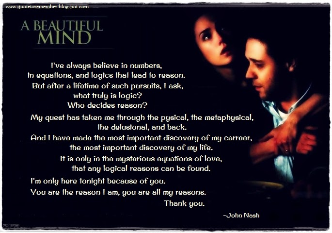 Quote To Remember A Beautiful Mind 2001