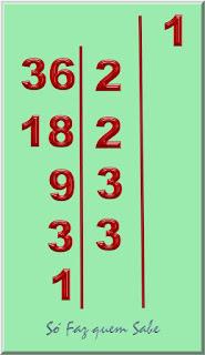 Colocando o número 1 à direita do traço. O primeiro divisor do número 36