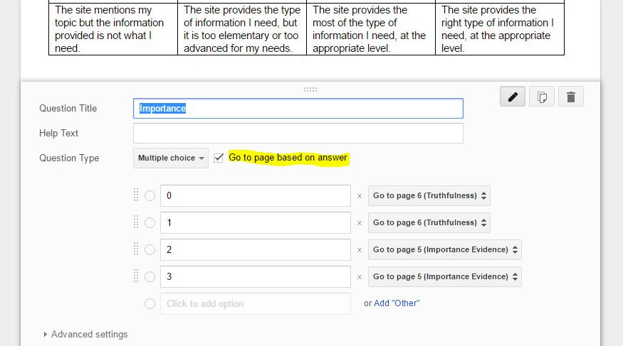 Teaching Above the Test: Evidence Based Rubrics using Google Forms